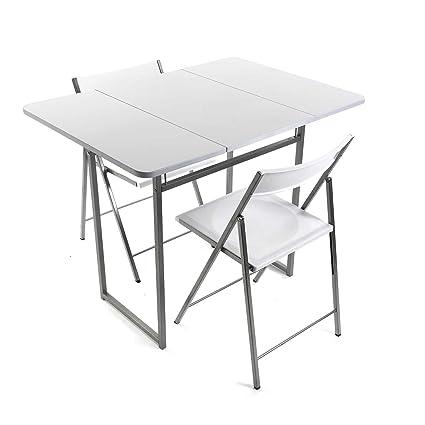 Versa - Mesa de cocina plegable con dos sillos, color blanco: Amazon ...