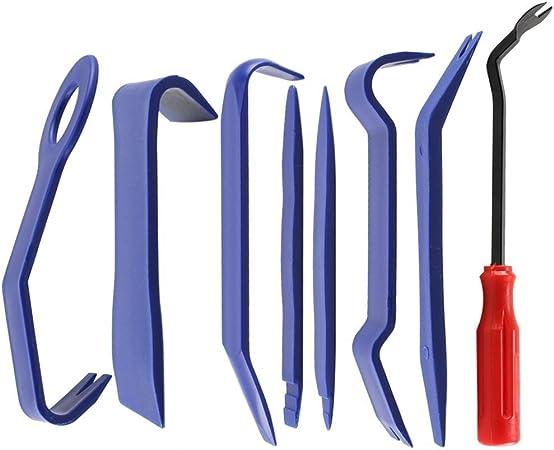 Auto Demontage Werkzeuge Zierleistenkeile Set 8 In 1 Verkleidung Werkzeug Für Auto Car Kfz Tür Clip Panel Audio Video Armaturenbrett Öffner Demontage Kits Installateur Pry Werkzeug Blau Blau Rot Auto