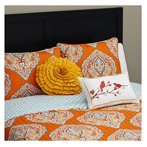 Full / Queen Size Lightweight Bohemian Style Quilt Set in Aqua Blue / Tangerine Damask Patterns - 5 Pieces by World Menagerie