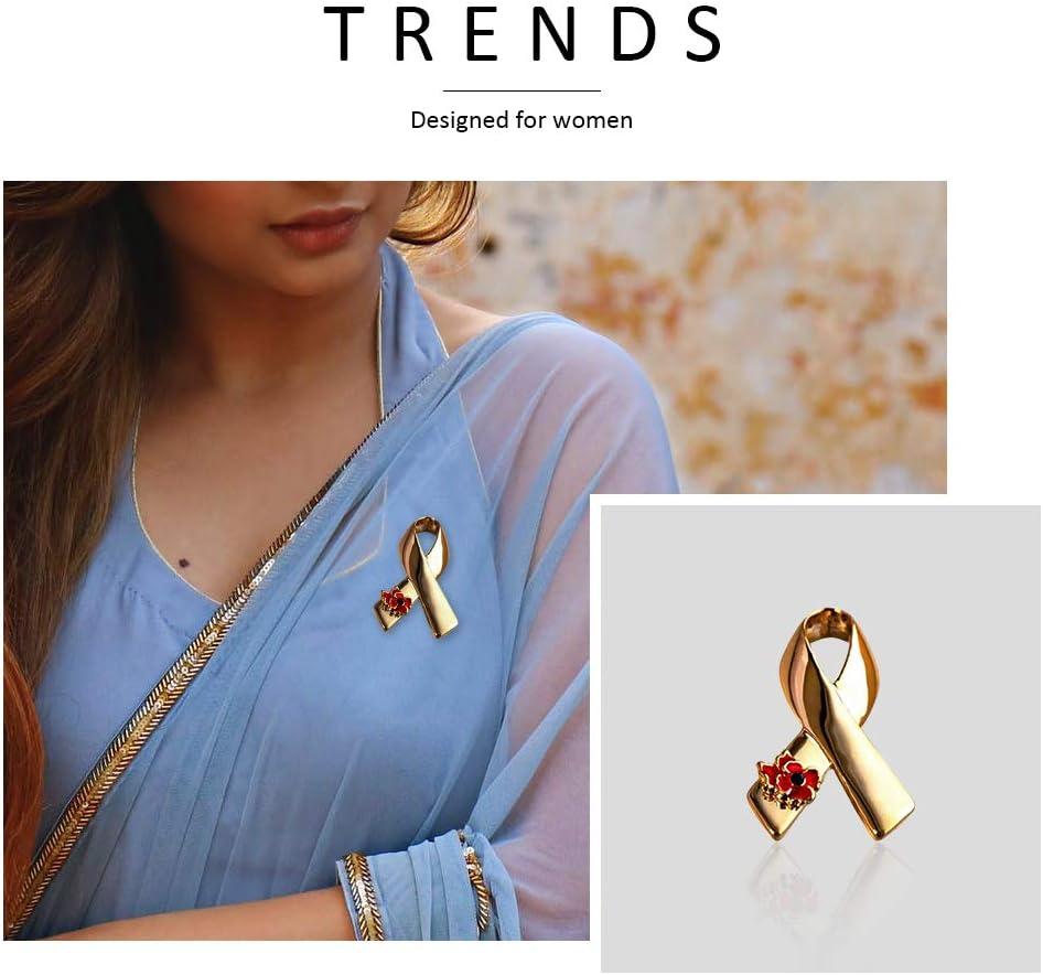 JoyFan Fashion Ruban Coquelicot Broche Pin Cancer Badge Breastpin soir/ée Bijoux
