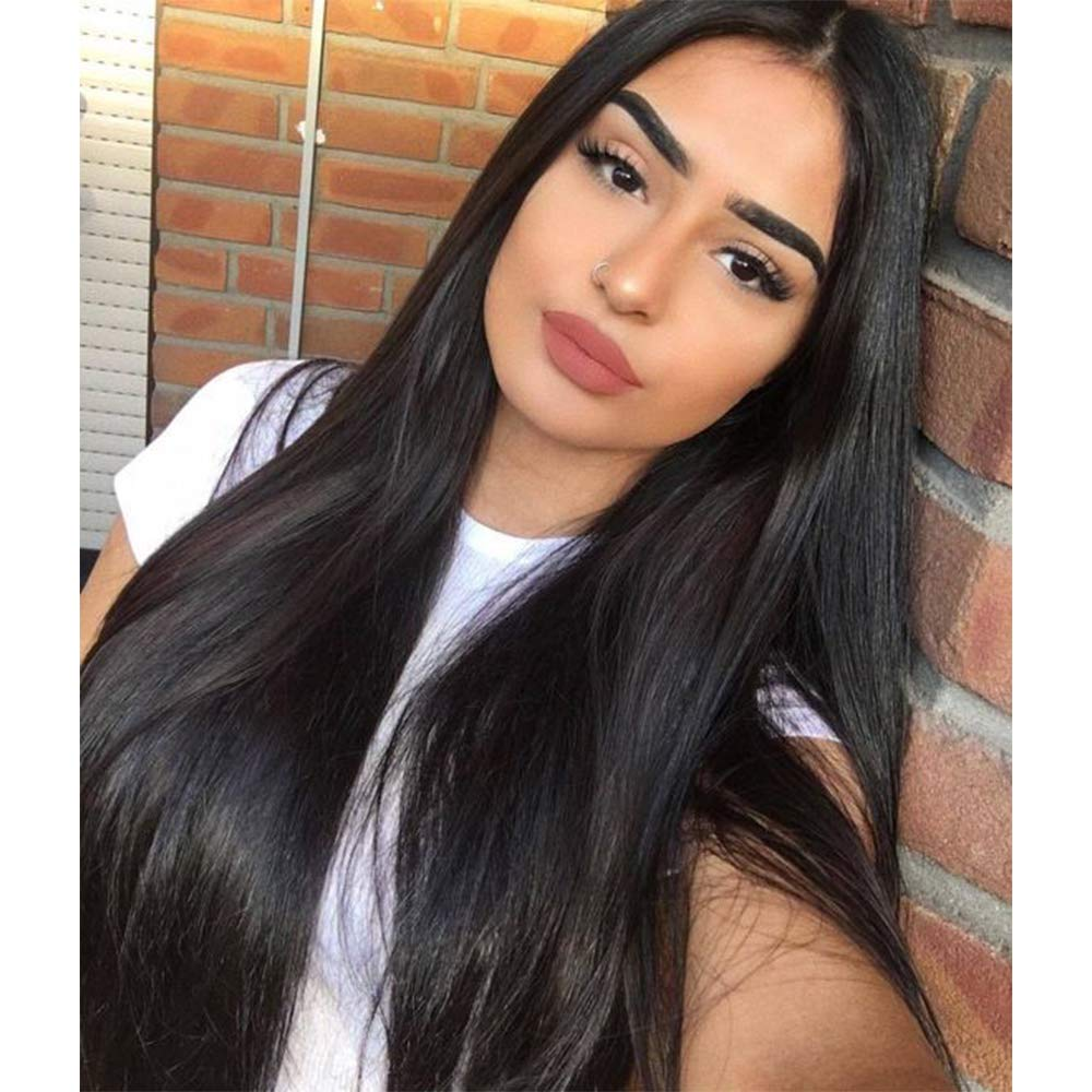 Amazon Com Vigorous Long Straight Black Wigs For Women Synthetic Black Wig Middle Part Hairline Natural Looking Daily Party Wear Full Wig 28 Inches Heat Resistant Fiber Hair 1b Beauty