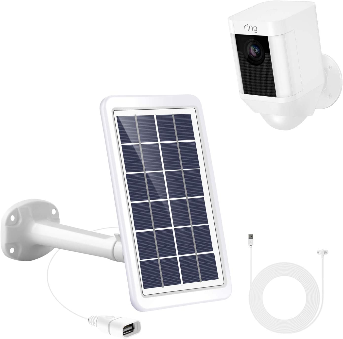 3.6 m// 1... Skylety Solar Panel for Ring Spotlight Cam with Security Wall Mount
