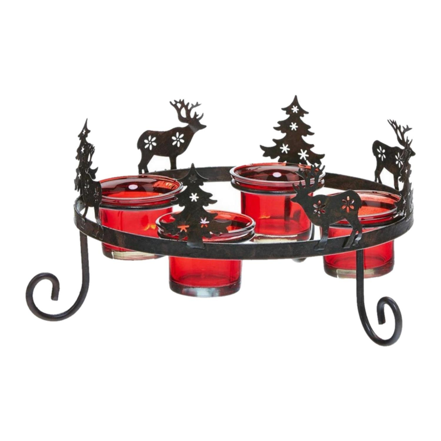 CC Home Furnishings Pack of 2 Red and Bronze Glass Woodland Silhouette Christmas Multi-Tea Light Candle Holders 3.5''