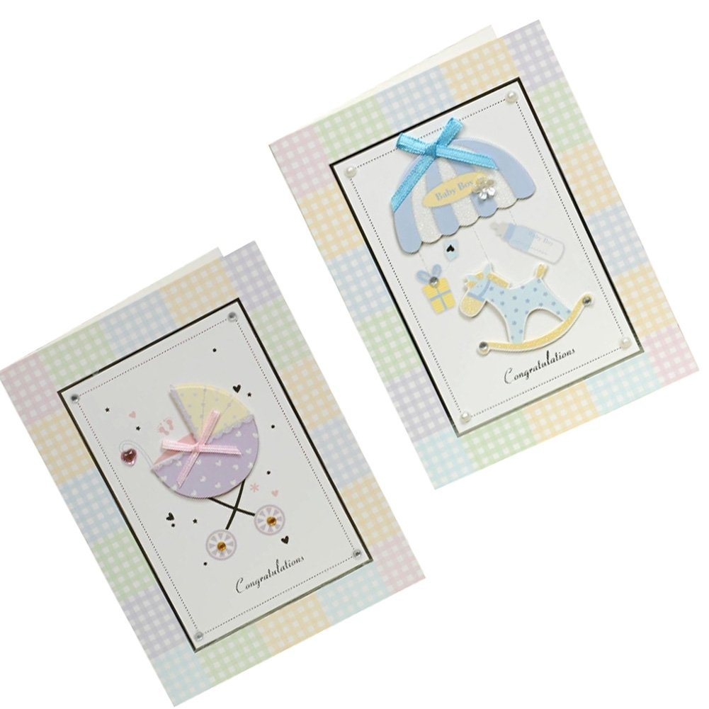 Lovely Baby Thank You Cards Baby Shower Set of 10 3D Cards, TwinKids Kylin Express
