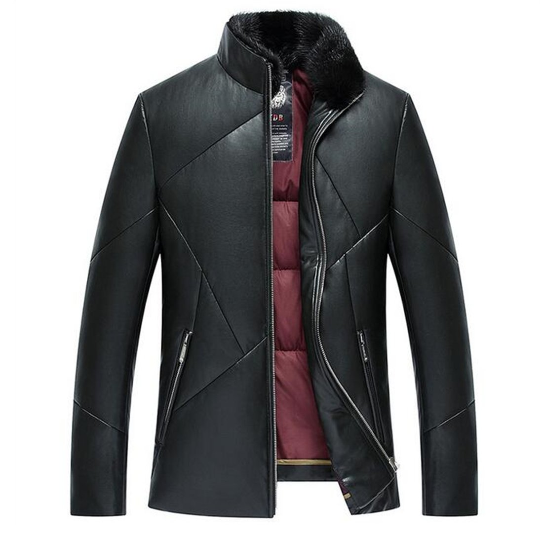 Partiss Men's Stand Up Collar PU Leather Jacket,XL,Black