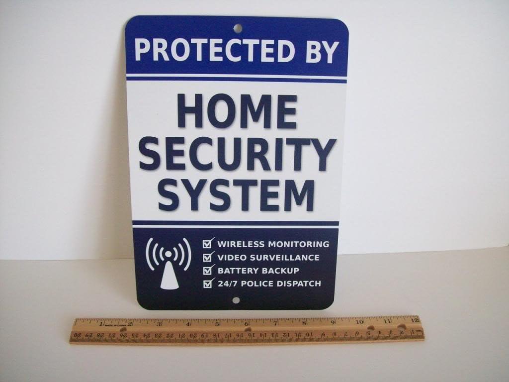 "Home Security Alarm System 7"" x 10"" Metal Yard Sign - Stock # 713"