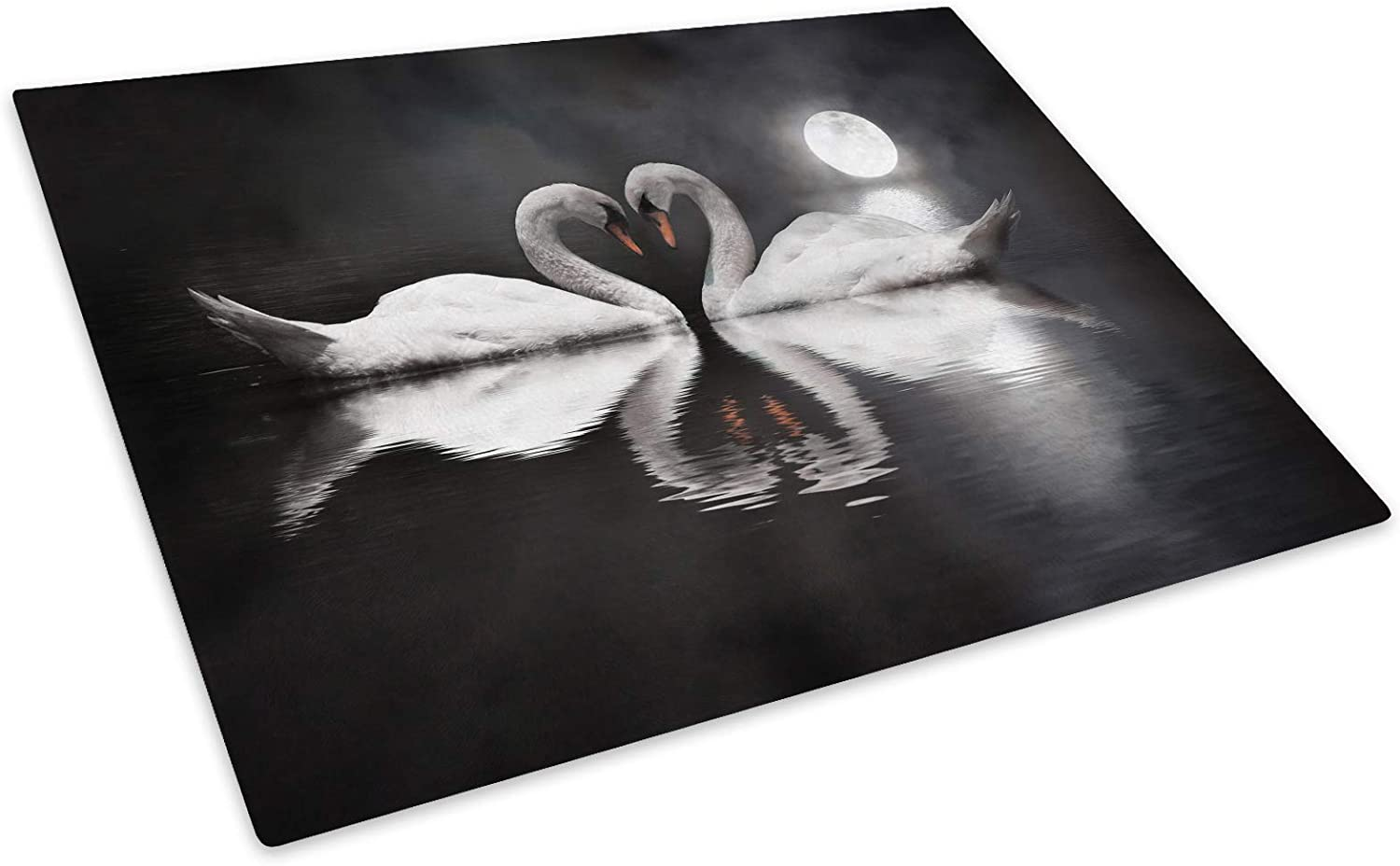 Swans White Black Grey Glass Placemat Kitchen Table Mat Worktop Saver Protector