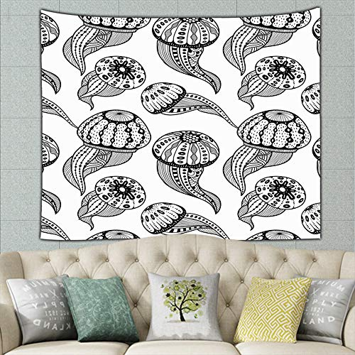 jellyfishes Zentangle Mural for Bedroom Living Room Dorm Home Décor 80 x 60 inch