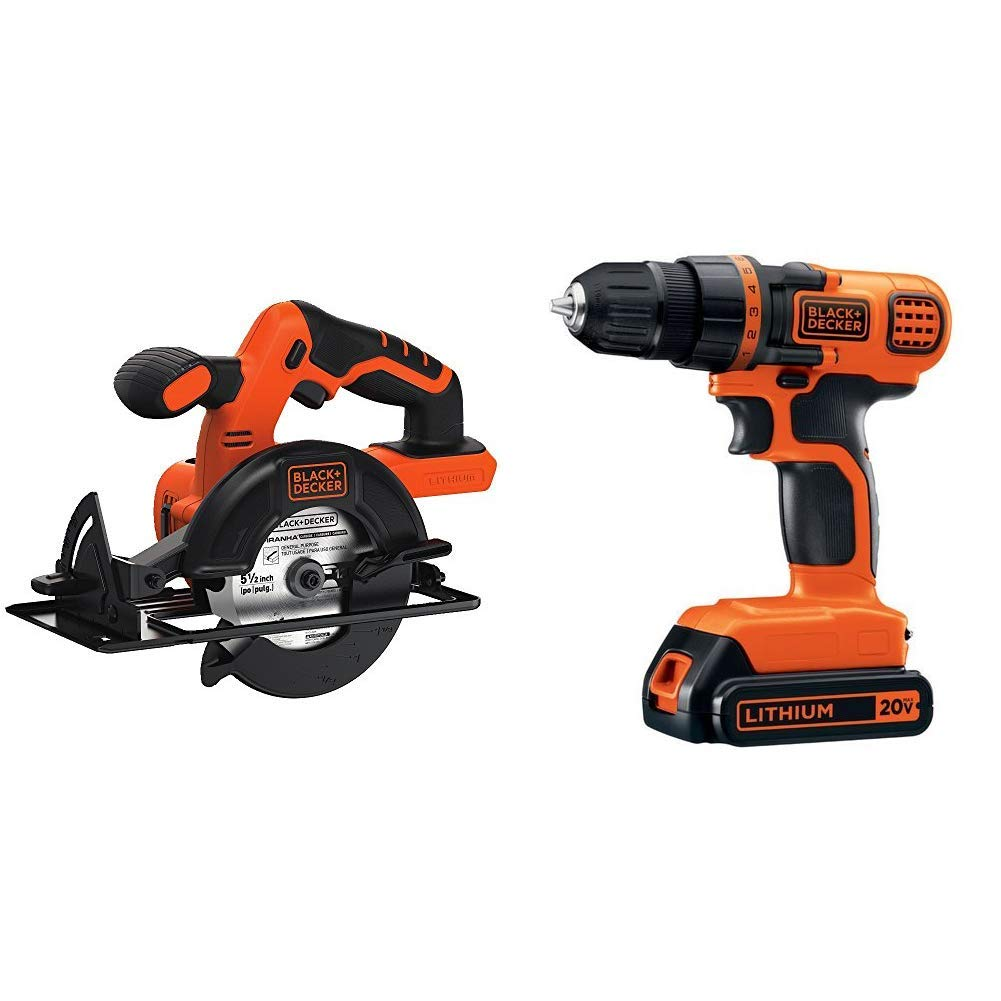 BLACK+DECKER BDCCS20B 20-volt Max Circular Saw Bare Tool, 5-1/2-Inch with BLACK+DECKER LDX120C 20V MAX Lithium Ion Drill / Driver