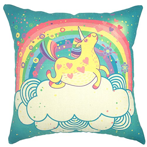 YOUR SMILE Unicorn Rainbow Cotton Linen Square Decorative Throw Pillow Case Cushion Cover 18x18 Inch(44CM44CM) (Color#213) -