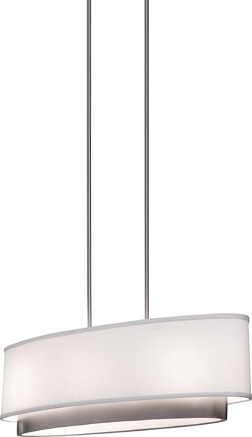artcraft lighting scandia oval chandelier brushed nickel with white