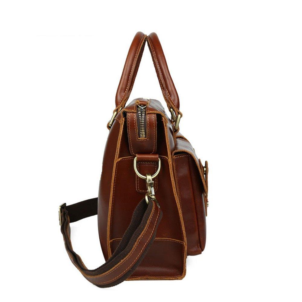 ASNMSMDL Mens Business Briefcase Leather Adjustable Shoulder Strap Shoulder Bag Large Capacity Computer Bag Multi-Pocket Classic Color : Dark Brown, Size : 261137CM