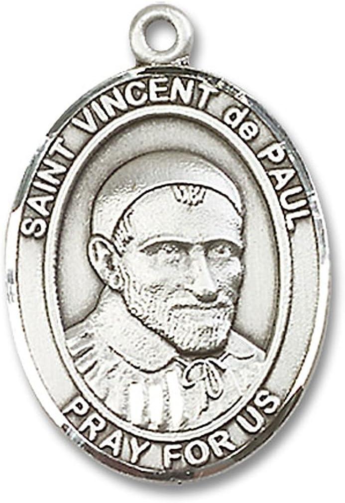 Heartland Mens Sterling Silver Saint Vincent De Paul Oval Medal USA Made Chain Choice