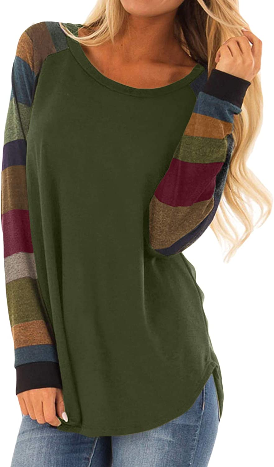 Malaven Womens Casual Color Block Long Sleeve Pullover Tops Loose Lightweight Tunic Shirt at  Women's Clothing store