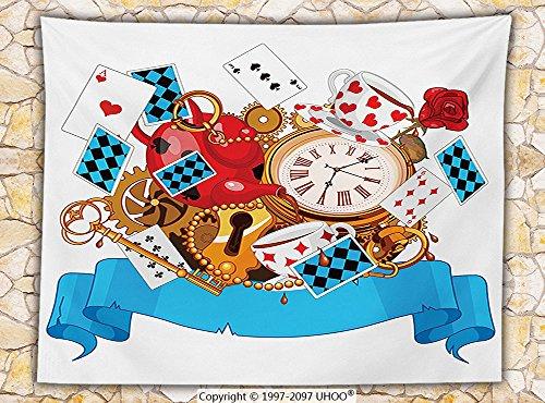 Alice in Wonderland Decorations Fleece Throw Blanket Mad Design of Cards Clocks Tea Pots Keys Flowers Fantasy World Illustration Throw