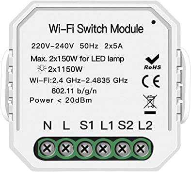 MOES WiFi Smart Light Switch DIY Breaker Module Smart Life//Tuya APP Remote Control,Working with Alexa Echo Google Home 2 Gang 2 Way