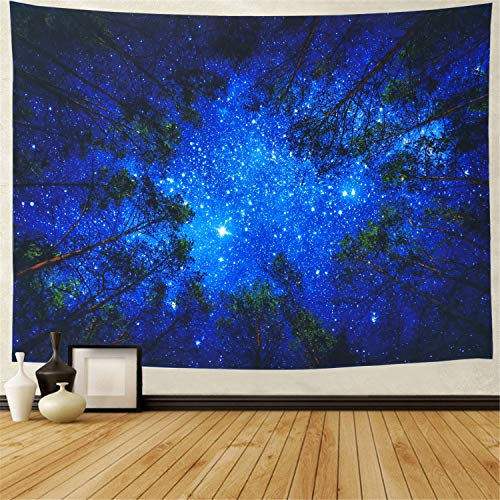 (Leofanger Starry Forest Tapestry Wall Hanging Starry Night Tapestry Galaxy Tapestry Mandala Bohemian Tapestry Milky Way Tapestry Night Sky Tapestry Tree Tapestry)