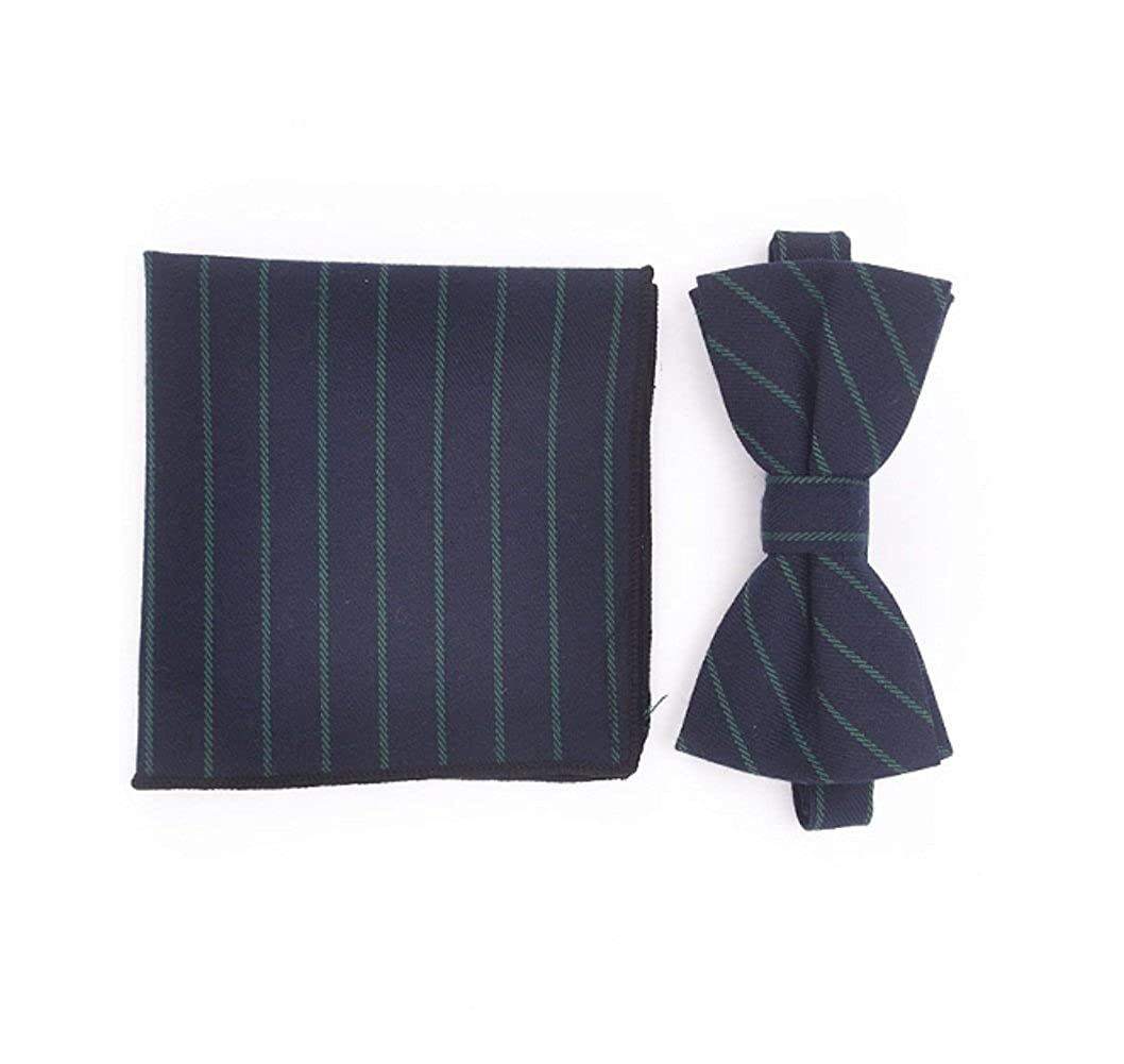 Kininder Handsome Men Casual Striped Cotton Bowtie Set Daily Dating Bow Tie Handkerchief Set Cool