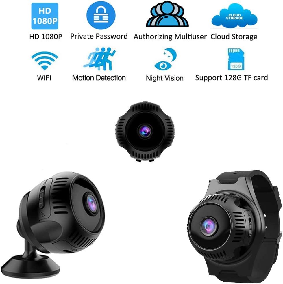 VRVZU Hidden Camera Wearable Spy Camera HD 1080P Indoor and Outdoor Mini WiFi Camera