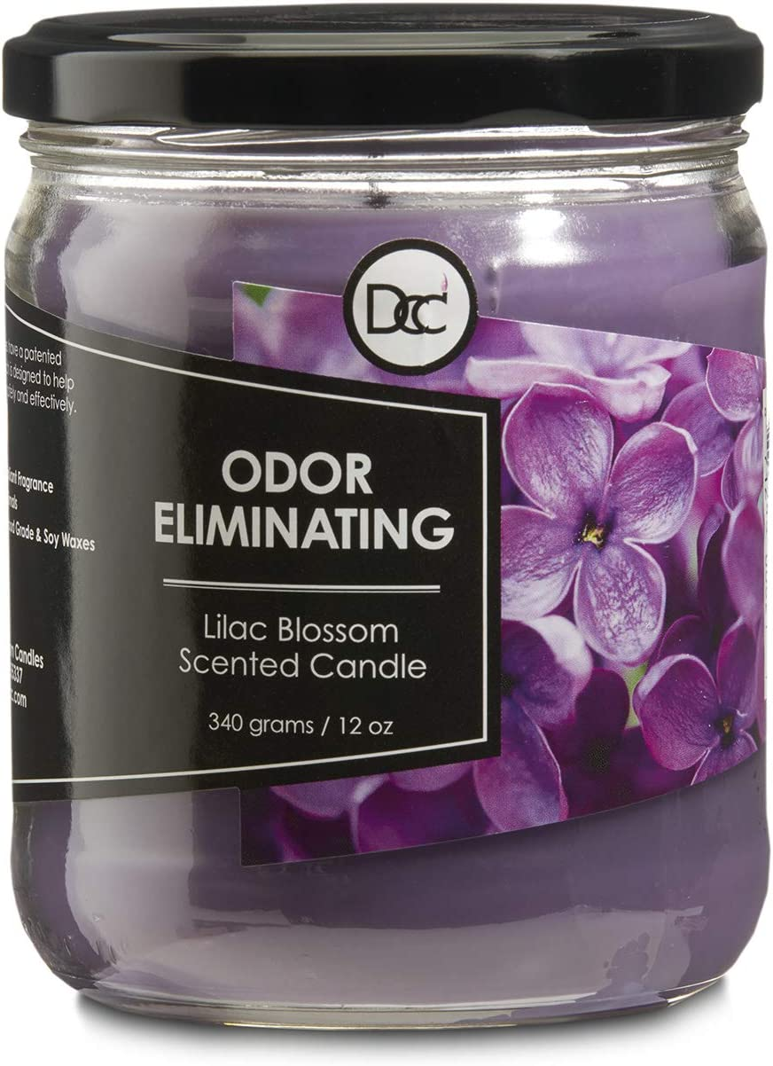 Odor Eliminating Highly Fragranced Candle - Neutralizes Pet, Smoke, Food, and Other Smells Quickly - Up to 80 Hour Burn time - 12 Ounce Premium Soy Blend (Lilac Blossom)