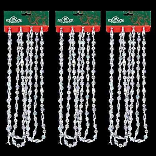 Kurt Adler Silver & Iridescent Oval Beads Beaded Christmas Garlands, Set of 3 (Garland Banister Christmas)