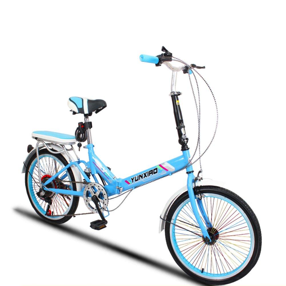 学生折りたたみ自転車, 折りたたみ自転車 女性のサイクリング 超軽量 ポータブル ミニ 男性 折り畳み自転車 B07DFJNCCY 20inch|ブルーC ブルーC 20inch
