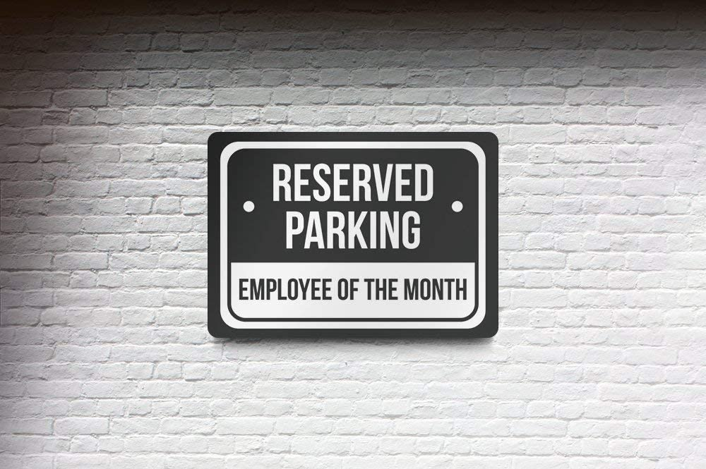 Reserved Parking Employees of The Month Print Black and White Notice Parking Metal Large Sign 4 Pack of Signs 12x18