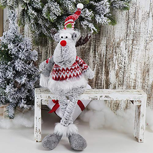 GMOEGEFT Handmade Christmas Reindeer Rudolph Plush, Moose Stuffed Animal Sitting Figurines with Dangling Legs, Xmas Holiday Home Decoration - Pack of 1 (Grey Sit)