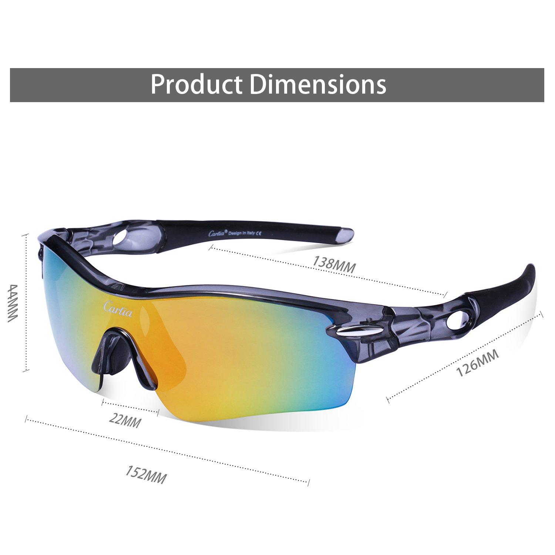 Gafas de Sol Deportivas Polarizadas,Carfia TR90 UV400 Unisex Gafas de Sol Deportivas Polarizadas a prueba de Viento 5 Lentes de Cambios Incluido para ...