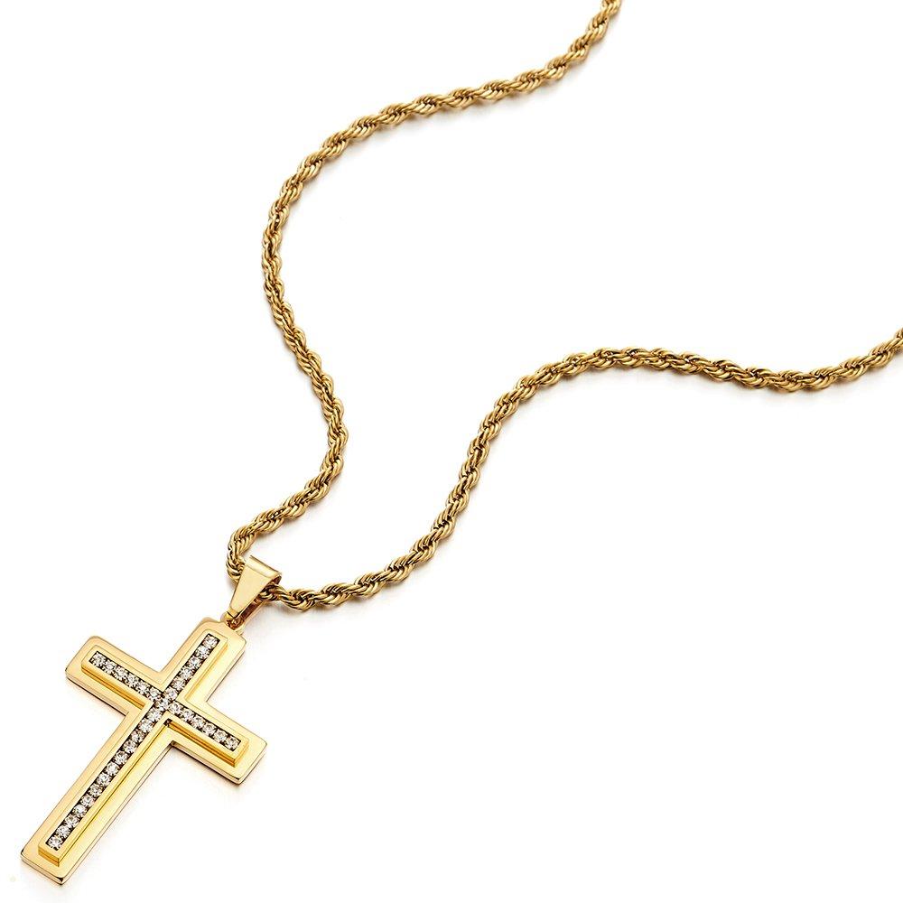COOLSTEELANDBEYOND Grande Oro Colgante de Cruz con Zirconia C/úbica Cadena Cuerda 75CM Collar de Hombre Mujer Acero Inoxidable