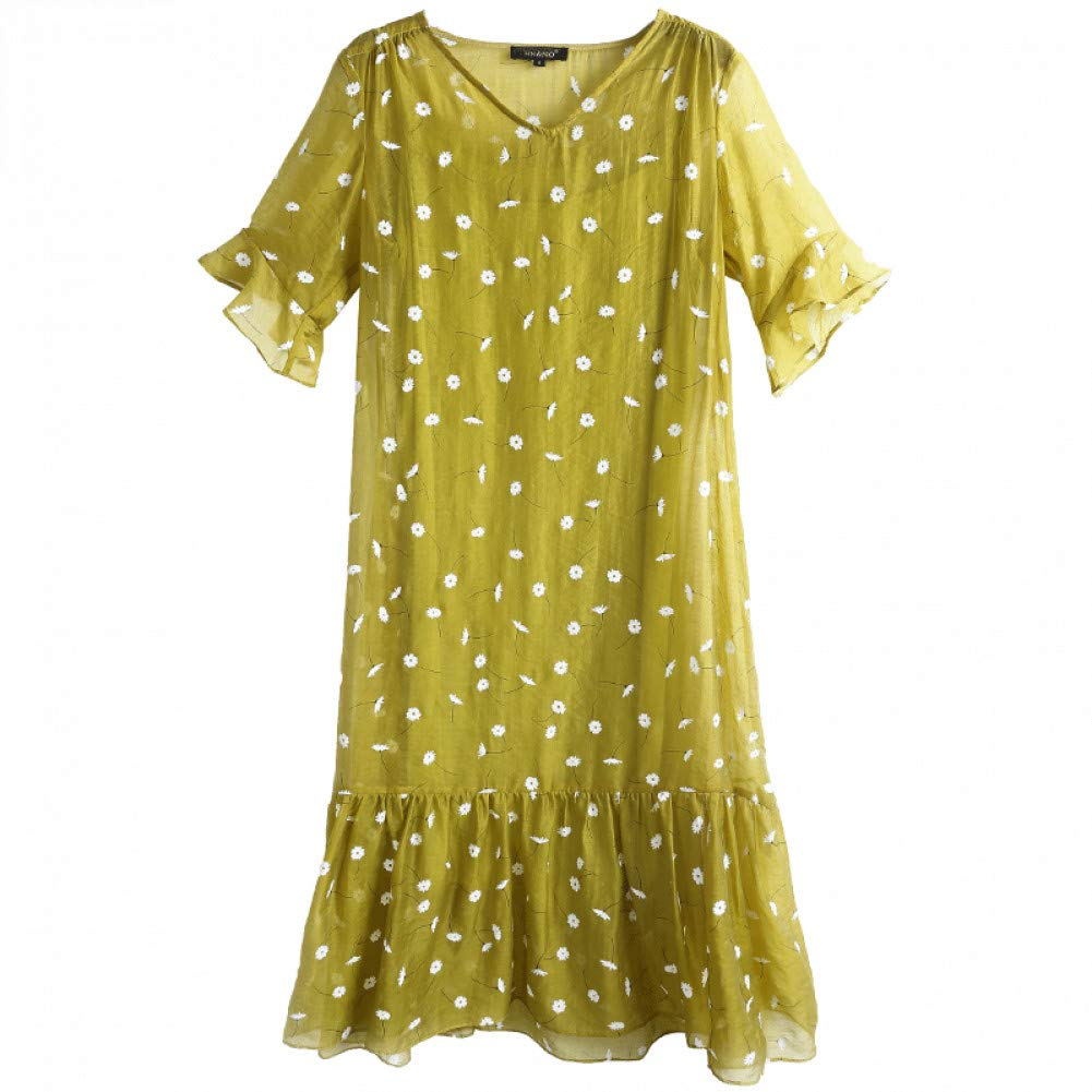 L BINGQZ Silk linen dress female summer new ladies temperament V-neck ruffled long skirt