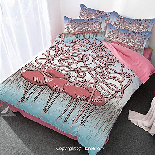 Homenon Fun Girl's Room Cover Set Full Size,Five Cute Flamingos Maze Game Joyful Animal Cartoon Reed Bed,Decorative 3 Piece Bedding Set with 2 Pillow Shams Coral Violet Blue Light Blue
