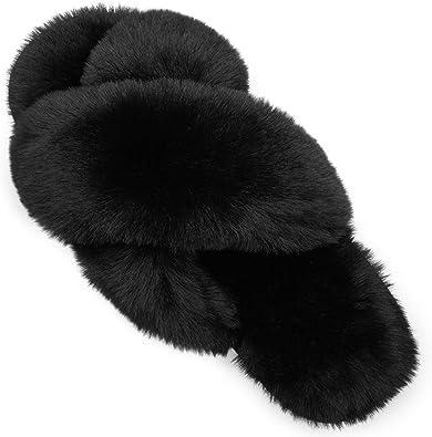 KuaiLu Womens Fluffy Slippers Ladies Furry Sliders Faux Fur Open Toe Warm Fuzzy Sandals with Memory Foam Indoor//Outdoor
