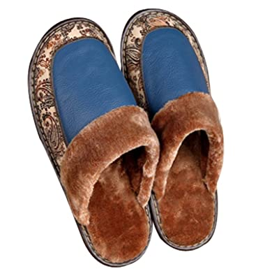 c7bcb1a9c Cattior Mens Winter Warm Indoor Outdoor Slippers Leather Slippers (6, Blue)
