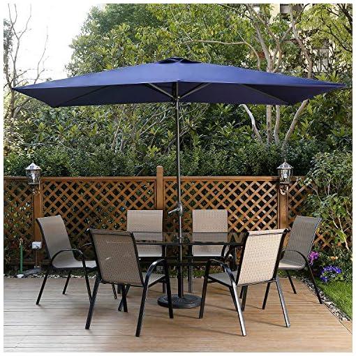 Garden and Outdoor Aok Garden Patio Umbrella Outdoor 6.5×10Ft Rectangular Table Market Umbrella with Push Button tilt and Crank for Deck… patio umbrellas