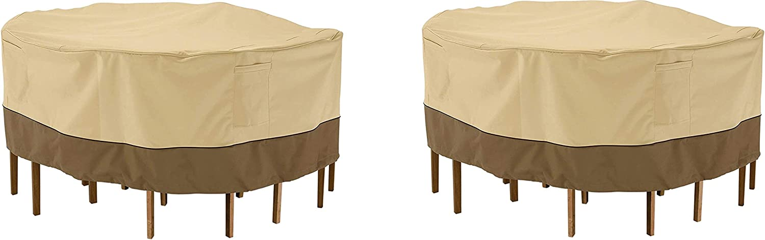 Classic Accessories Veranda Tall Round Patio Table /& Chairs Cover Medium Pebble Pack of 2