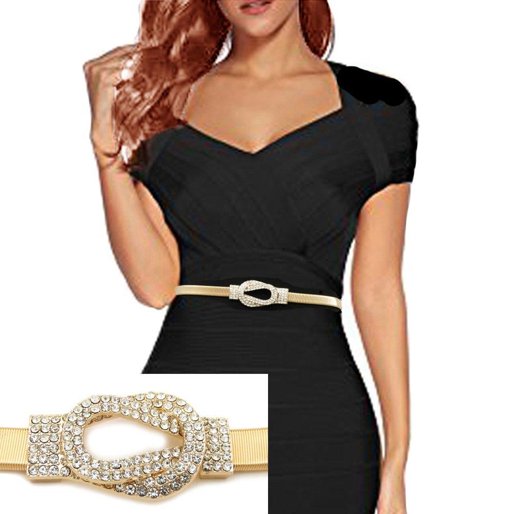 Rhinestone Knot Buckle Piece Stretch Waist Chain Belt Gold, Black Tone (Gold)