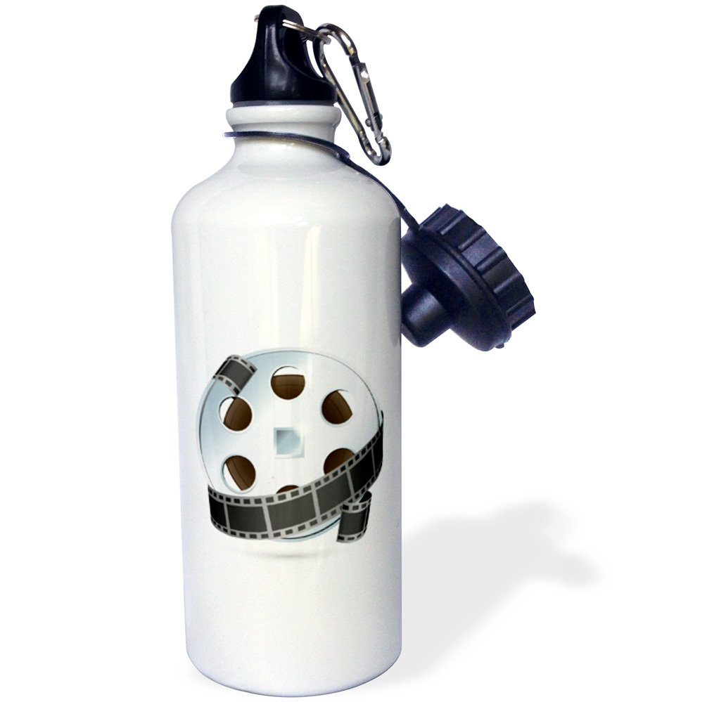 3dRose wb_159179_1''A Silver and Black Movie Reel'' Sports Water Bottle, 21 oz, White