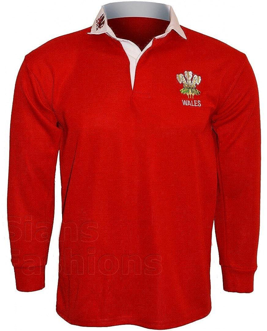 Wales Rugby Shirt langarm Walesh Sports Top mit aufgesticktem Logo auf der Brust