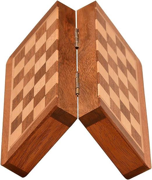 Serie de ajedrez de Viaje de Bolsillo magnético situado en Sheesham y Caja de Madera: Amazon.es: Juguetes y juegos