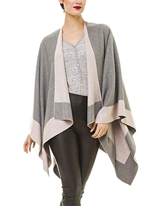 Milene88 Women Warm Open Front Blanket Shawl Imitation Cashmere Autumn Winter Cloak Cold Weather Scarves & Wraps