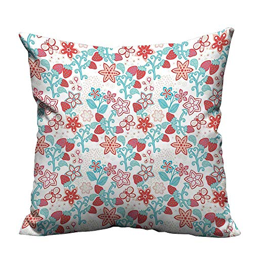 Coral Needlepoint - YouXianHome Zippered Pillow Covers Ladybugs Butterfli Strawberri Kids Nursery Pattern Dark Coral Aqua Decorative Couch(Double-Sided Printing) 16x16 inch