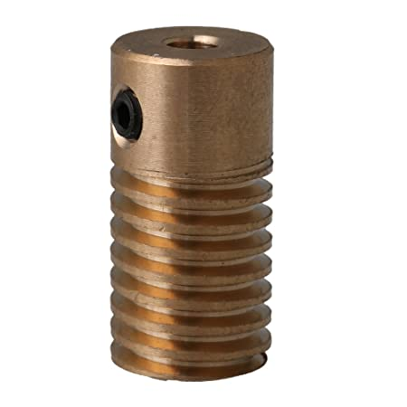 Yellow 0.5 Modulus 3.17mm Bore Dia Brass Worm Wheel Shaft 20x9.8x3.17MM