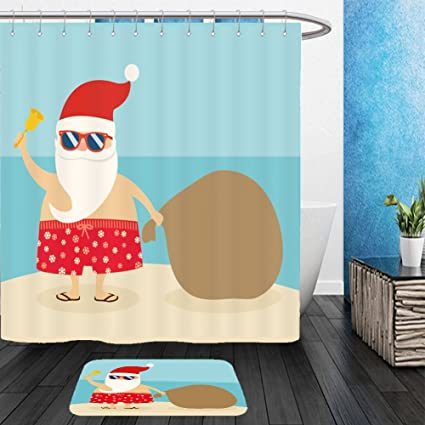 Vanfan Bathroom 2 Suits 1 Shower Curtains Floor Matssummer Santa Claus From Bath Room