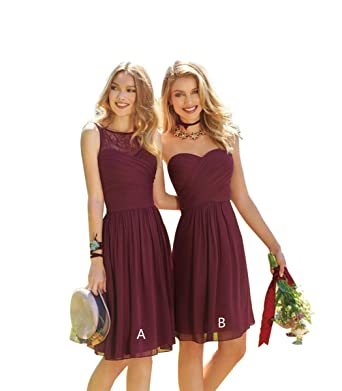 d88b84aff0d Lace Chiffon Bridesmaid Dresses Short Pleated A-Line Wedding Party Dresses  Burgundy A Size 2