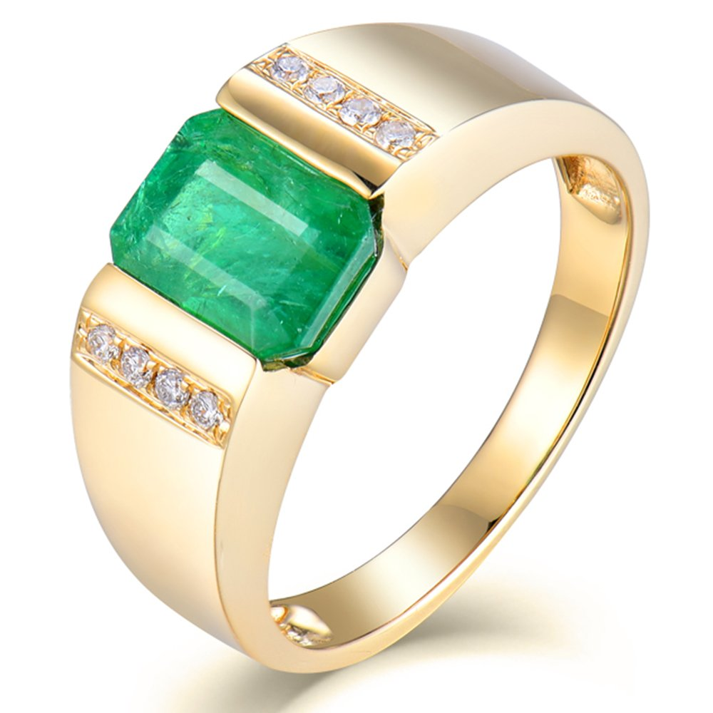 23a173bdfe928 Lanmi Vintage Men's Jewelry Genuine Emerald Ring with Natural ...