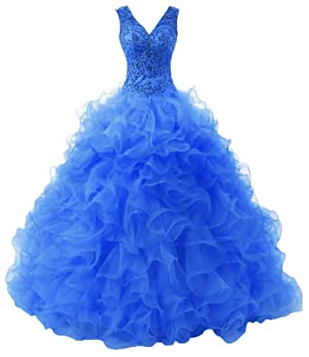 HEIMO V Neck Beaded Prom Party Dresses Long Sexy Sequined Quinceanera Gowns H085 2 Blue