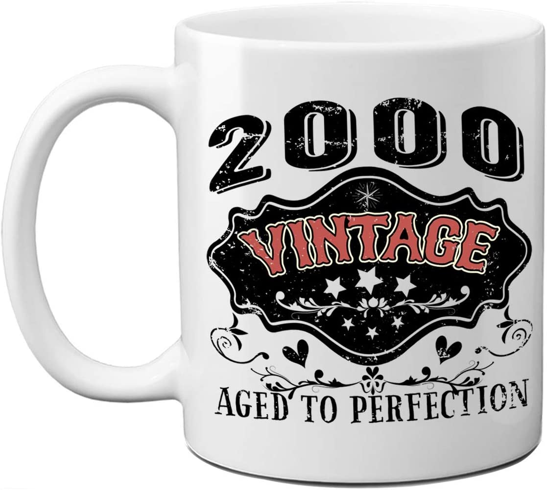 Amazon Com 20th Birthday Mug For Him Her 2000 Vintage Aged To Perfection Funny Gift Ideas For Dad Mom Husband Wife Birthday Present 11oz White Mug For Men Women Coworker 20 Year Old