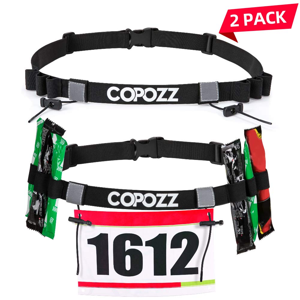 COPOZZ Race Number Belt, Triathlon Running Bib Holder, Quick Release Waist Hip Holders, Reflective Number Card Belt with 6 Fuel Gel Loops for Running, Cycling, Marathon, Triathlon Race