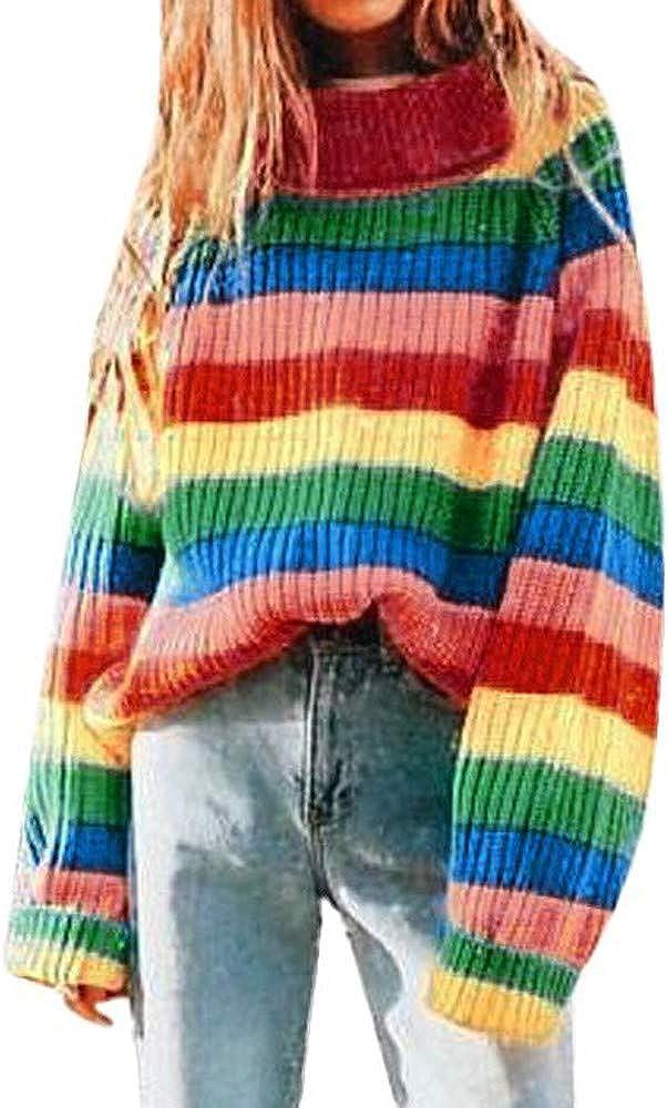 Women Rainbow Stripe Long Sleeve Turtleneck Knitted Sweater Blouse Pullover Premium Quality Sweatshirt